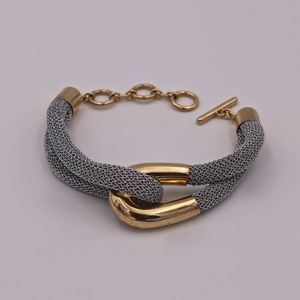 A&M Silver Mesh Bracelet w/ Gold Polished Loop
